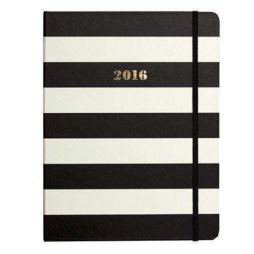Paper & Stationery - 2016 - 17 Month Medium Agenda In Black Stripe By Kate Spade New York