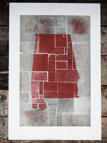 Paper & Stationery - Alabama Block Party In Crimson And Grey Hand Pressed Print By The Old Try