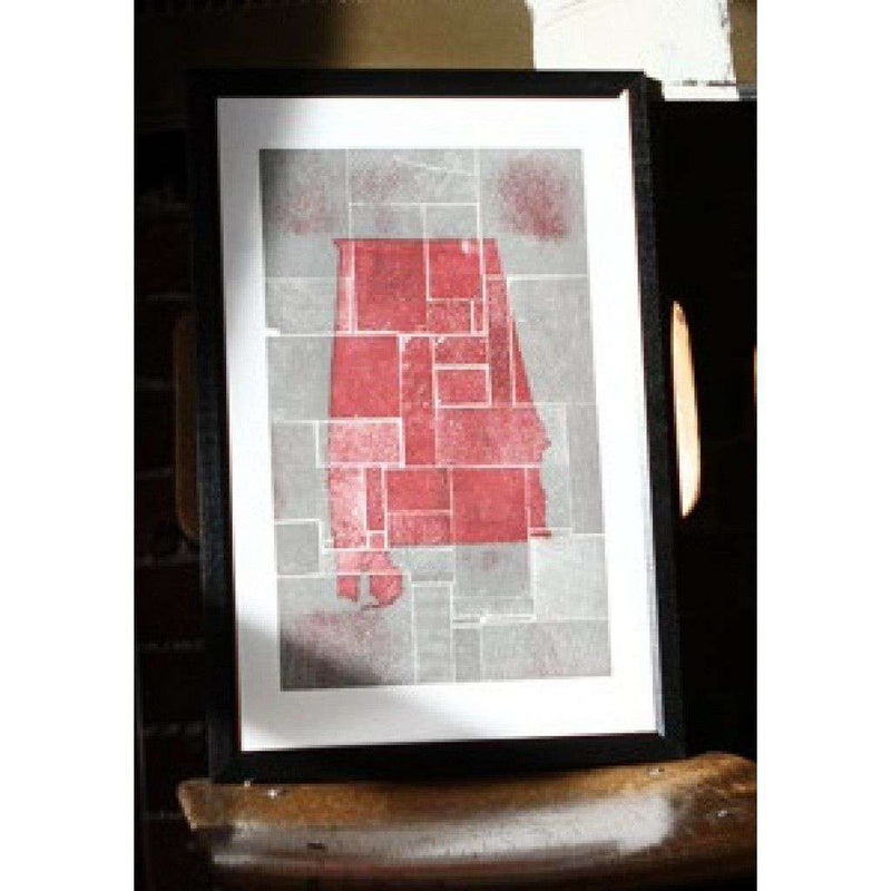 Alabama Block Party in Crimson and Grey Hand Pressed Print by The Old Try