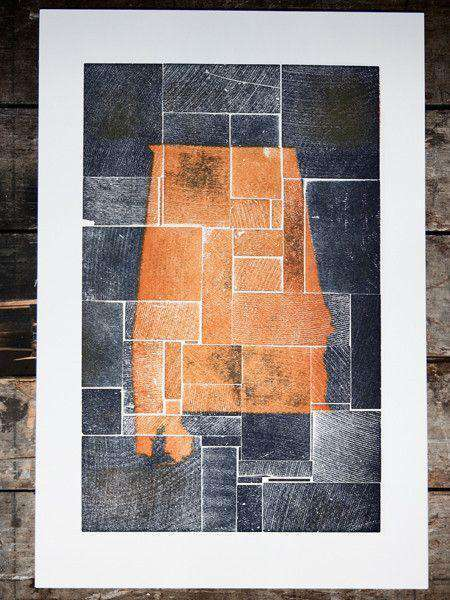 Paper & Stationery - Alabama Block Party In Orange And Blue Hand Pressed Print By The Old Try