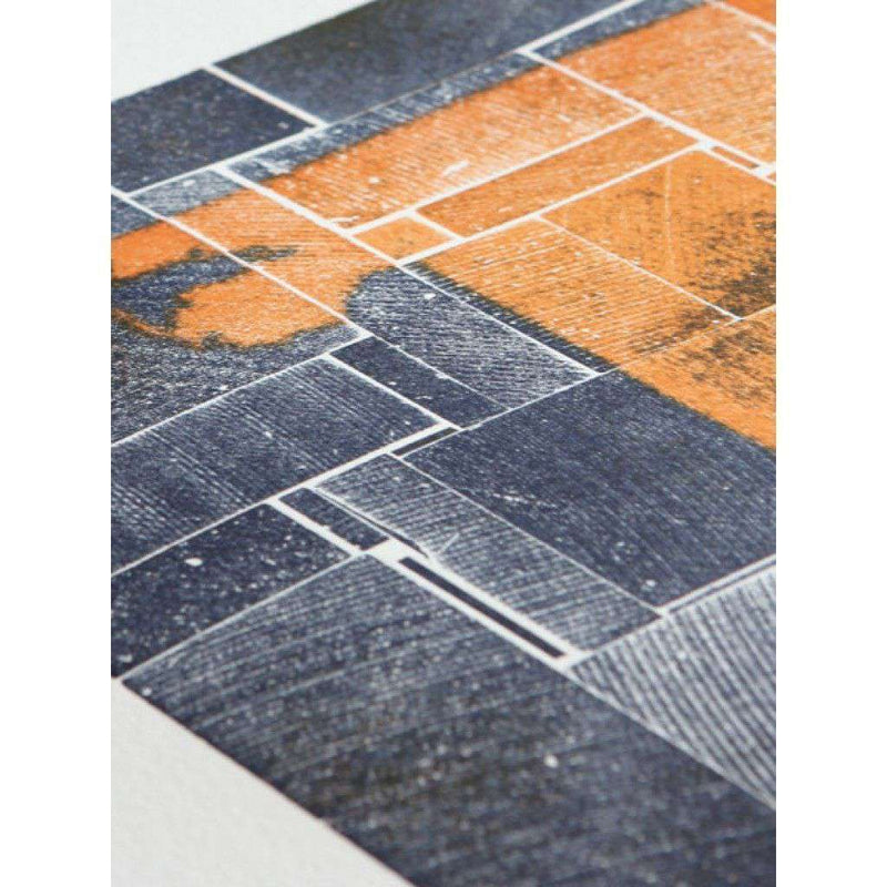 Alabama Block Party in Orange and Blue Hand Pressed Print by The Old Try