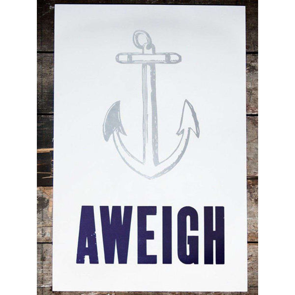 Anchors Aweigh Hand Pressed Print by The Old Try