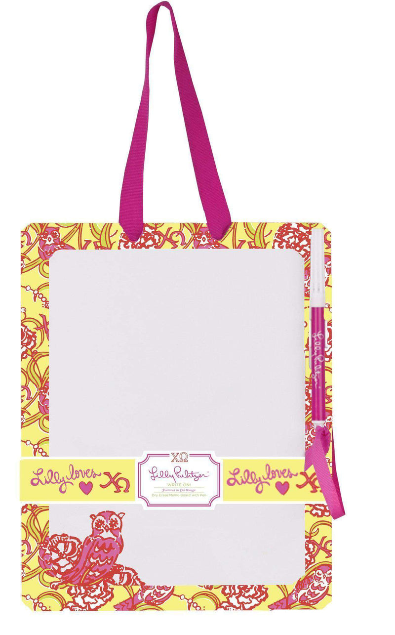 Paper & Stationery - Chi Omega Dry Erase Board By Lilly Pulitzer - FINAL SALE