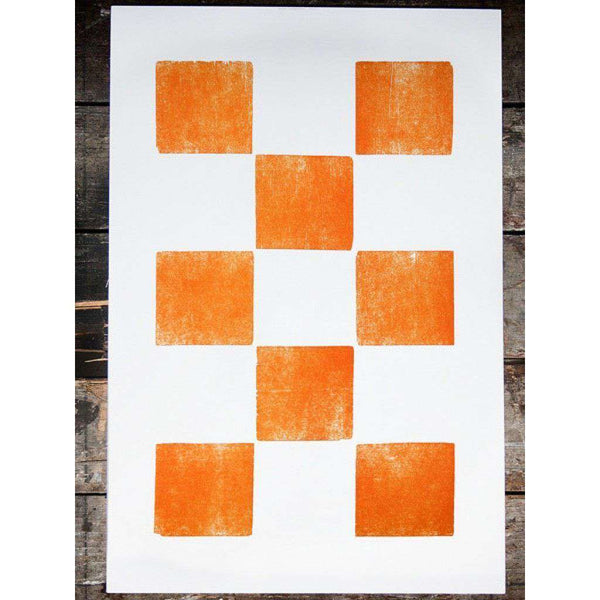 Eight Orange Squares Hand-Pressed Print by The Old Try