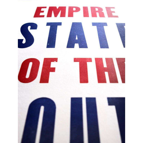 Empire State in Red and Blue Hand-Pressed Print by The Old Try