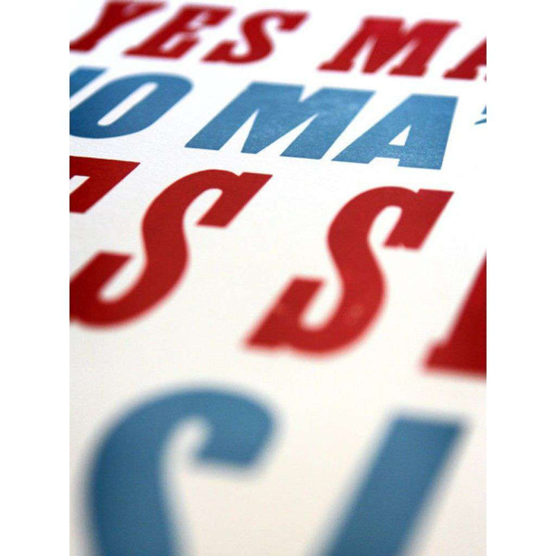 General Manners No.1 in Red and Light Blue Hand-Pressed Print by The Old Try