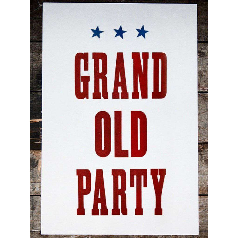 Paper & Stationery - Grand Old Party Hand Pressed Print By The Old Try