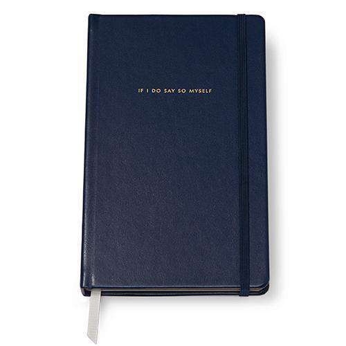 "Paper & Stationery - ""If I Do Say So Myself"" Large Leatherette Notebook In Navy By Kate Spade New York - FINAL SALE"