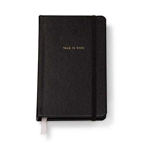 "Paper & Stationery - ""Talk Is Chic"" Medium Leatherette Notebook In Black By Kate Spade New York"