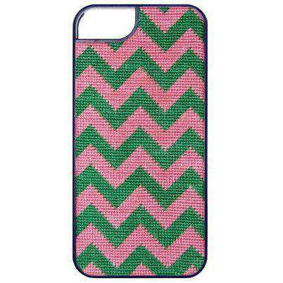 Chevron Needlepoint iPhone 6 Case in Pink and Green by Smathers & Branson