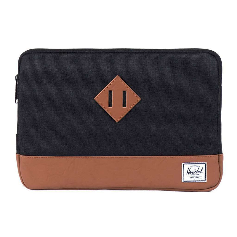 "Heritage Macbook 11"" Sleeve in Black and Tan Synthetic Leather by Herschel Supply Co."