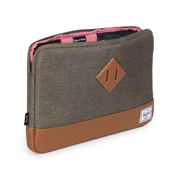"Heritage Macbook 11"" Sleeve in Canteen Crosshatch and Tan Synthetic Leather by Herschel Suply Co."