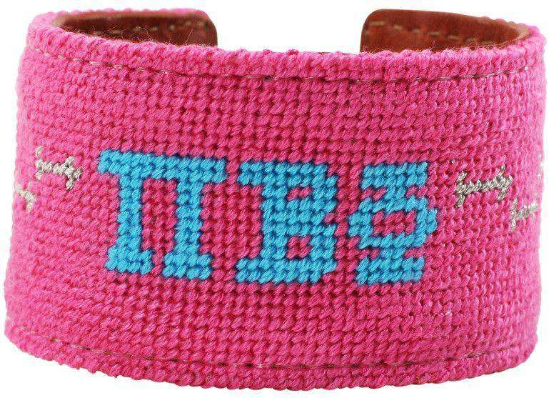 Pi Beta Phi Needlepoint Cuff Bracelet in Hot Pink by York Designs - FINAL SALE