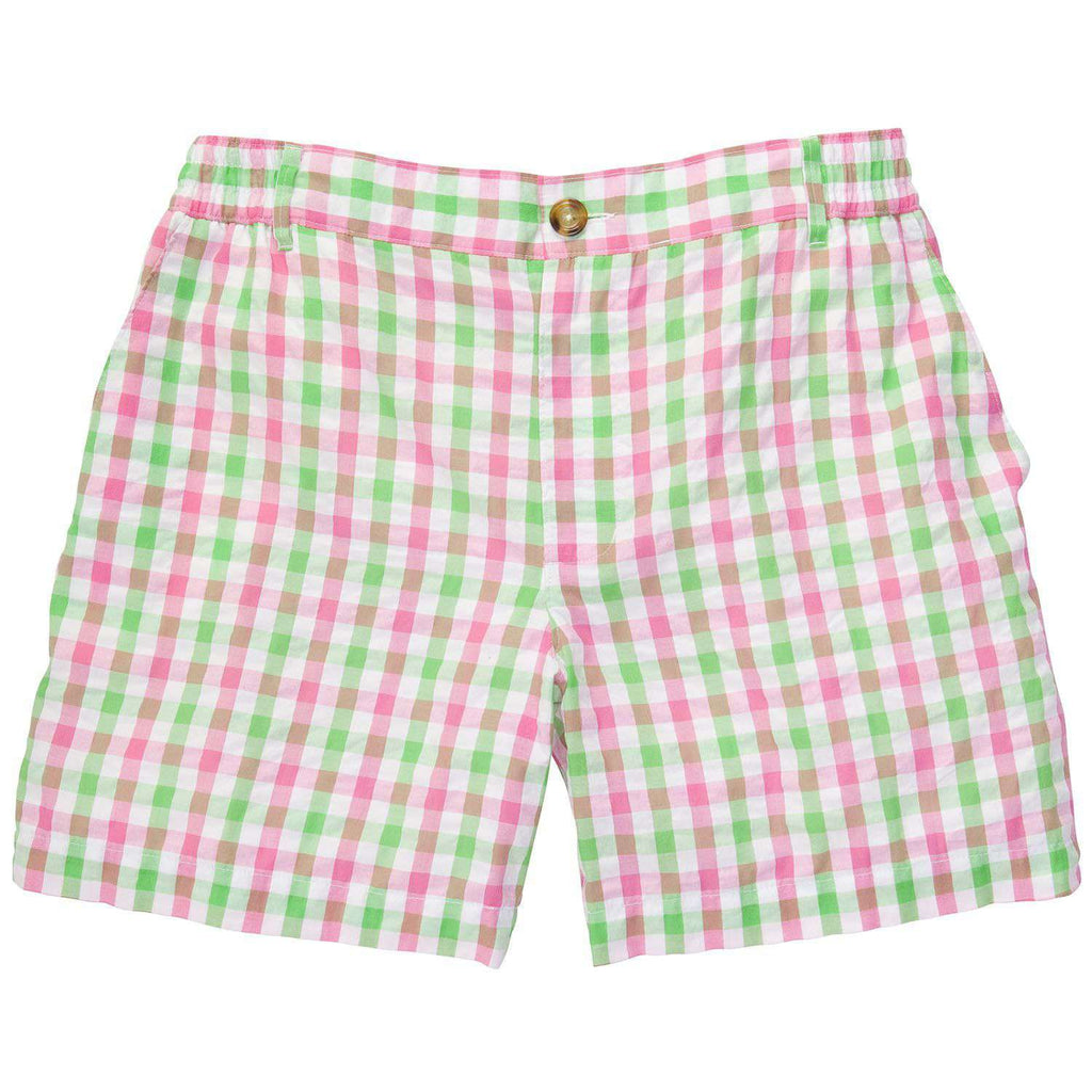 Pink and Green Seersucker Shorts by Southern Proper  - 1