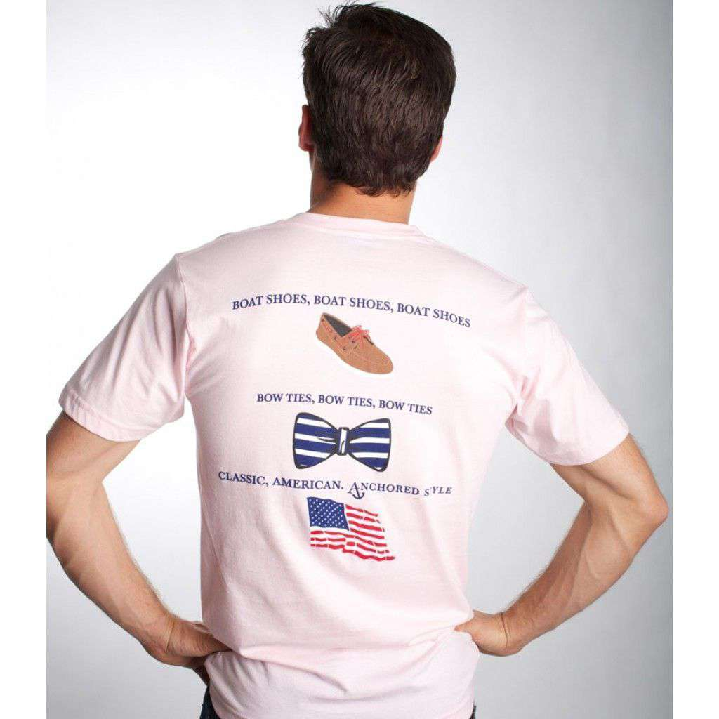 Boat Shoes, Bow Ties and America Tee Shirt in Light Pink by Anchored Style  - 1