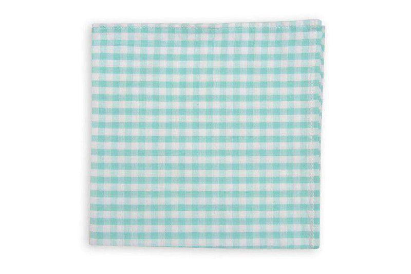 Pocket Squares - Aqua Seersucker Check Pocket Square By High Cotton