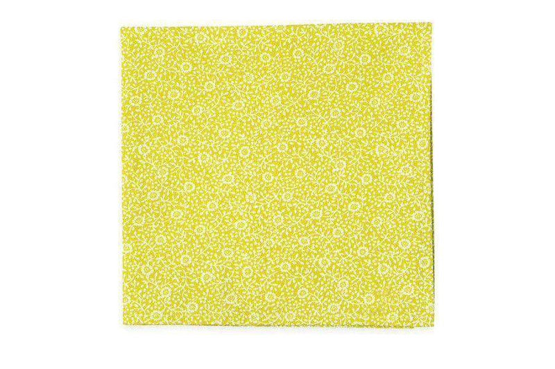 Pocket Squares - Brookgreen Floral Pocket Square In Yellow By High Cotton