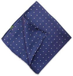 Pocket Squares - Classic Spots Pocket Square In Navy By Bird Dog Bay