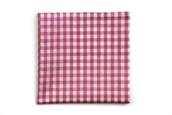 Deep Pink Check Pocket Square by High Cotton