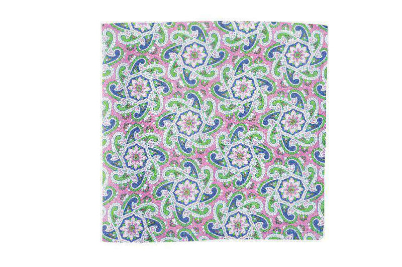 Pocket Squares - Derby Paisley Linen Pocket Square In Pink By High Cotton
