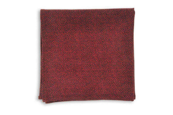 Garnet Herringbone Pocket Square by High Cotton