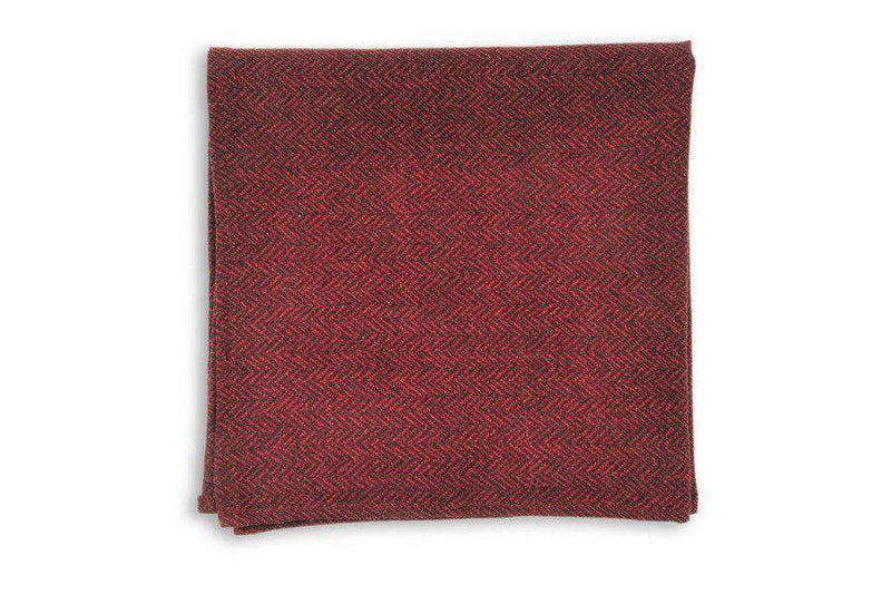 Pocket Squares - Garnet Herringbone Pocket Square By High Cotton