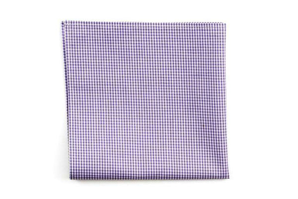 Lavender Mini Check Pocket Square by High Cotton