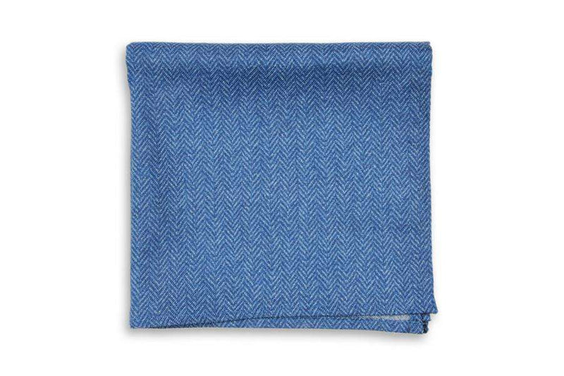 Pocket Squares - Oxford Blue Herringbone Pocket Square By High Cotton