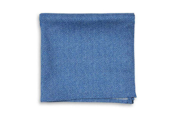 Oxford Blue Herringbone Pocket Square by High Cotton