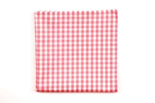 Pale Pink Check Pocket Square by High Cotton