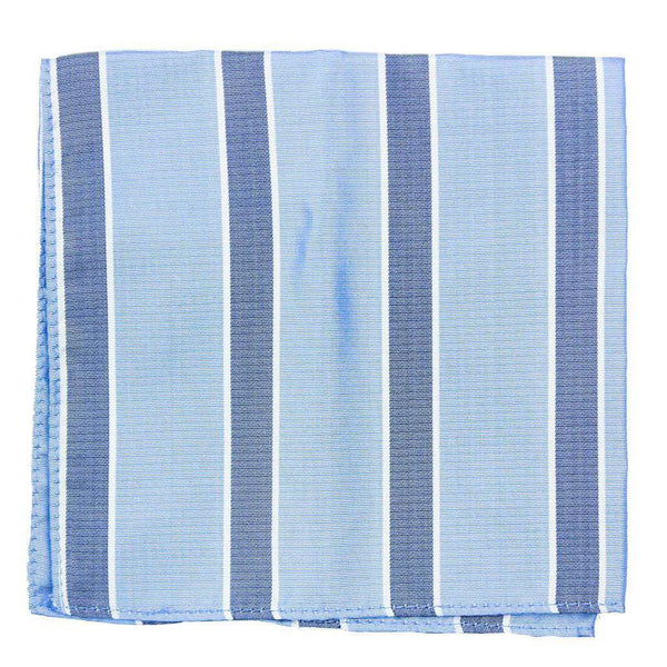 Pocket Square in Light Blue with Navy Stripes by Collared Greens
