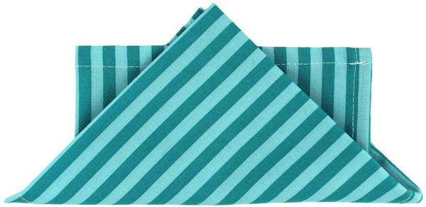 Pocket Squares - Pocket Square In Turquoise And Aqua Stripe By Just Madras