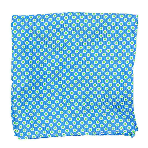 Pocket Squares - Pocket Square In Turquoise With Lime Dots By Collared Greens