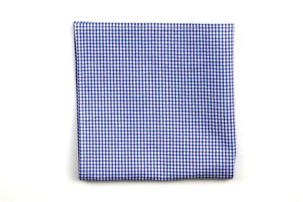 Royal Blue Seersucker Gingham Pocket Square by High Cotton