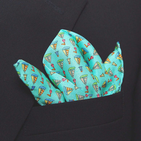 Sailboats & Buoy Pocket Square in Aqua by Peter-Blair