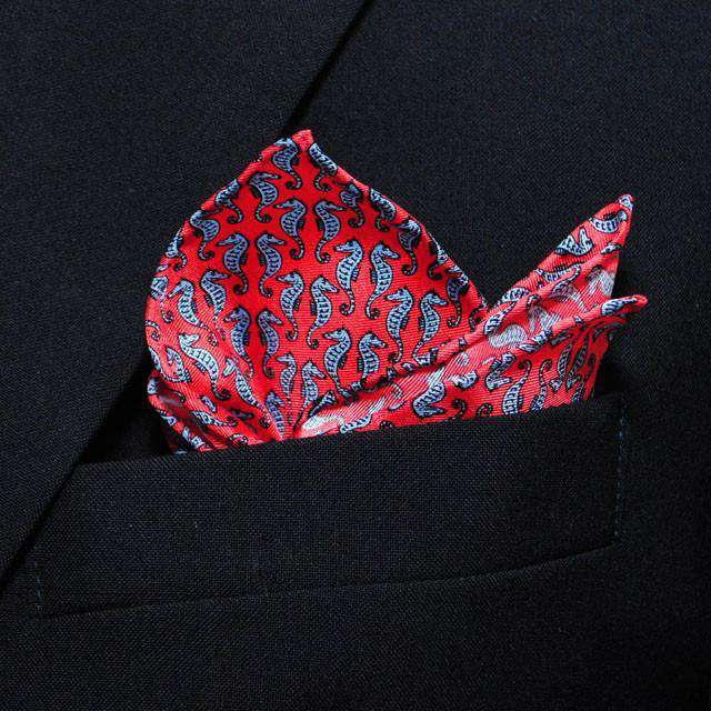Sea Horse Pocket Square in Pink by Peter-Blair