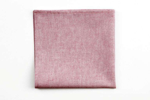 Soft Red Chambray Pocket Square by High Cotton