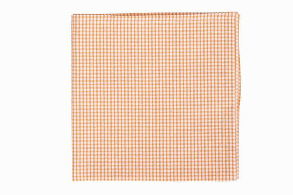 Soft Tangerine Seersucker Pocket Square by High Cotton