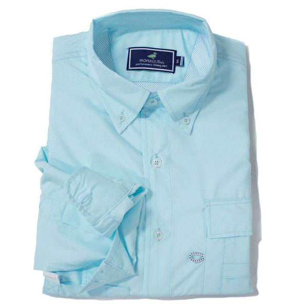 Properly Tied Boy's Performance Fishing Shirt in Seafoam