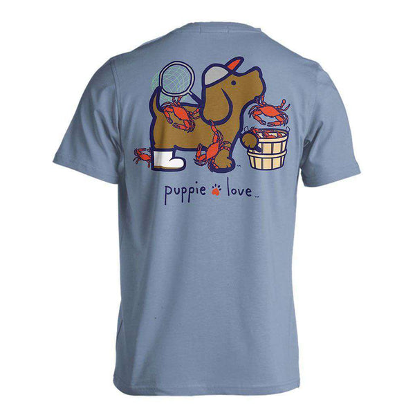 Crab Pup Short Sleeve Tee in Stone Blue by Puppie Love