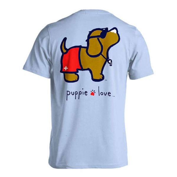 Puppie Love Lifeguard Pup Short Sleeve Tee in Light Blue