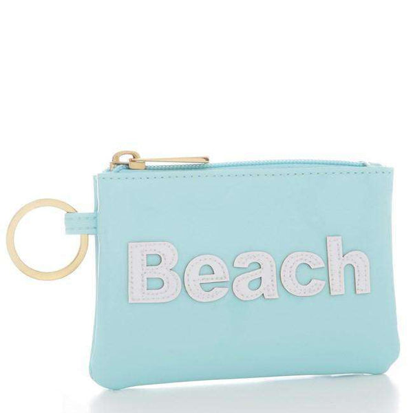 Kelly Case Change Purse in Light Blue with White Beach by Lolo