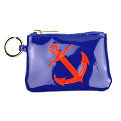 Purses - Kelly Case Change Purse In Navy With Red Anchor By Lolo - FINAL SALE