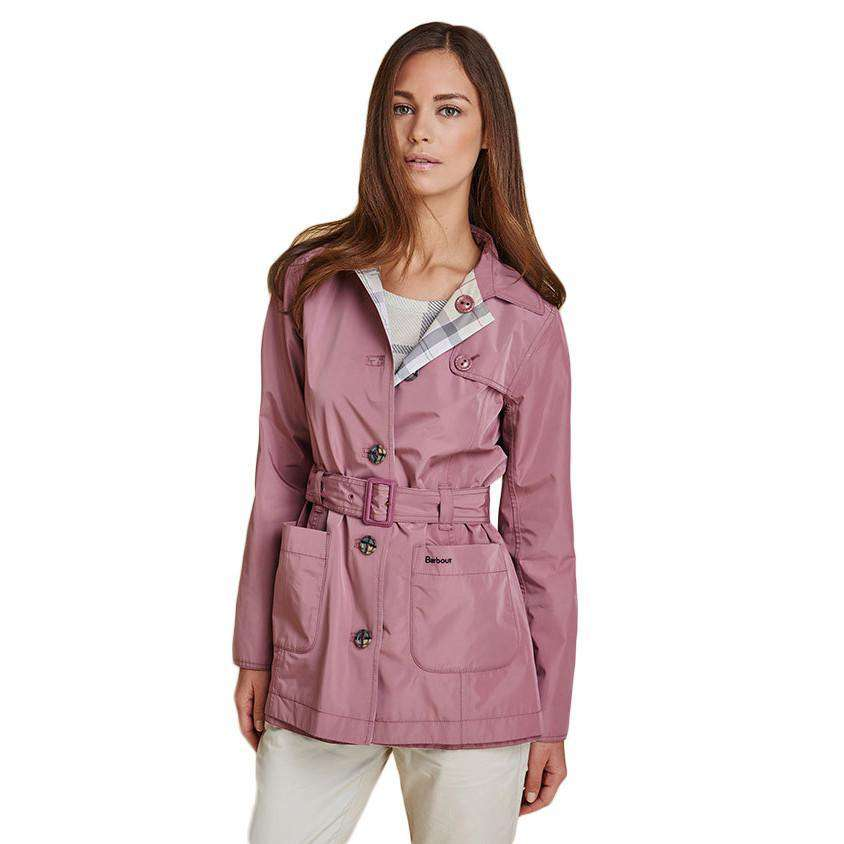 Reversible Oak Trench Coat in Ice Rose and Summer Tartan by Barbour  - 1