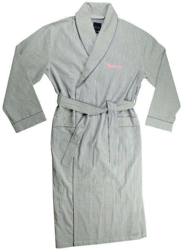 "Robes - ""Longshanks"" Bathrobe In Blue Seersucker By Country Club Prep"