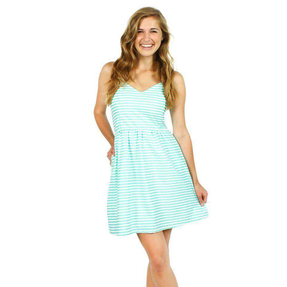 The Briana Dress in Seafoam and White Stripe by Dayton K  - 1