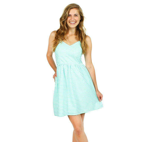 The Briana Dress in Seafoam and White Stripe by Dayton K