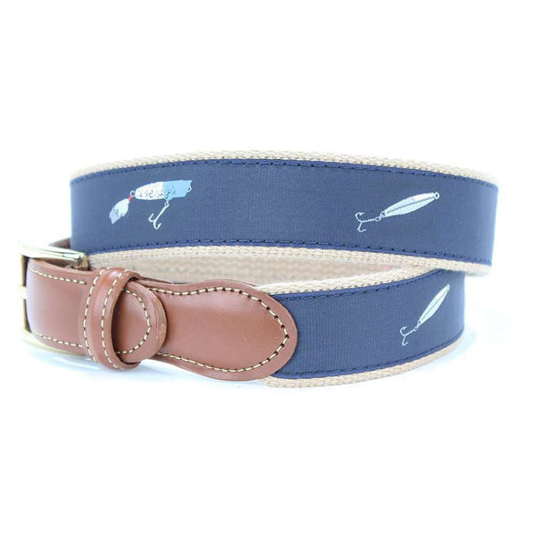 Salt Water Lures Leather Tab Belt in Navy by Country Club Prep  - 1
