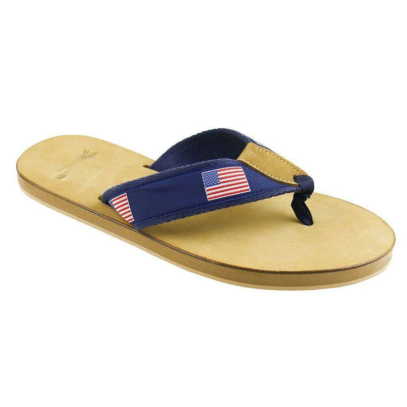Sandals - American Flag Leather Sandal In Navy By Country Club Prep - FINAL SALE