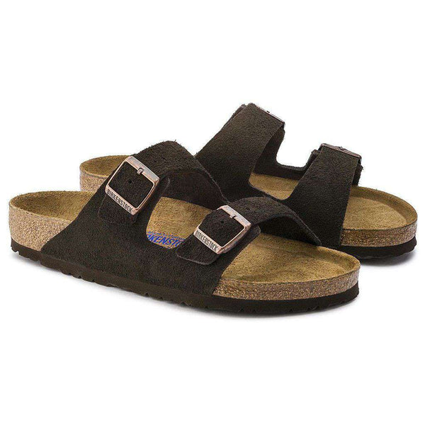 Sandals - Arizona Sandal In Mocha Suede Leather With Soft Footbed By Birkenstock